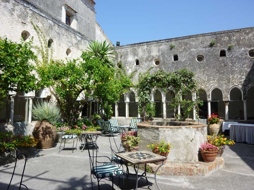 Cloister of Amalfi medieval convent for wedding receptions