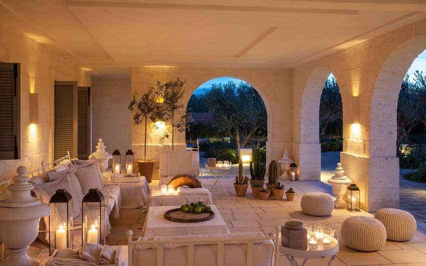 Veranda at Borgo Egnazia, venue for wedding receptions in Puglia
