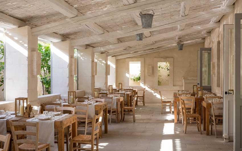 Restaurant of Borgo Egnazia for wedding receptions in Puglia