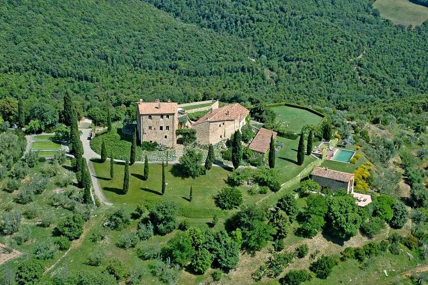 Aerial view of Castello di Vicarello in Tuscany
