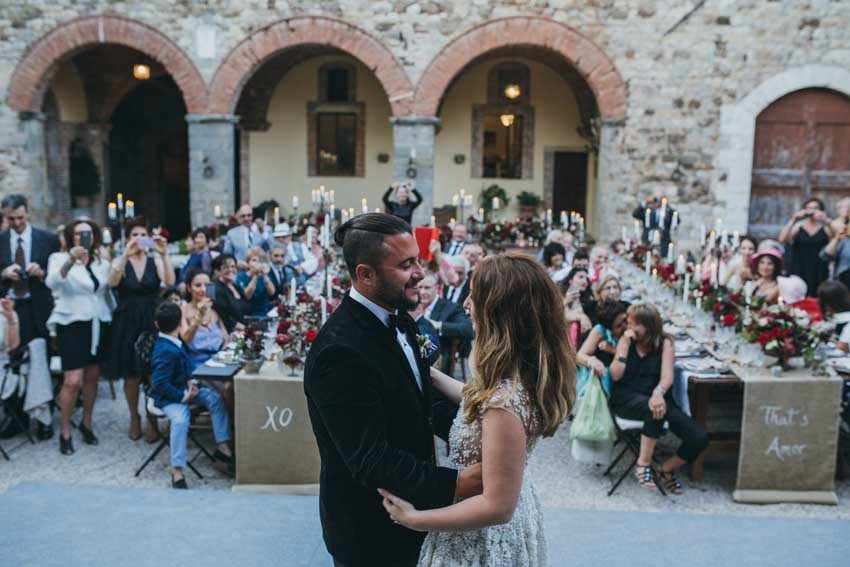 Wedding party in a castle in Tuscany