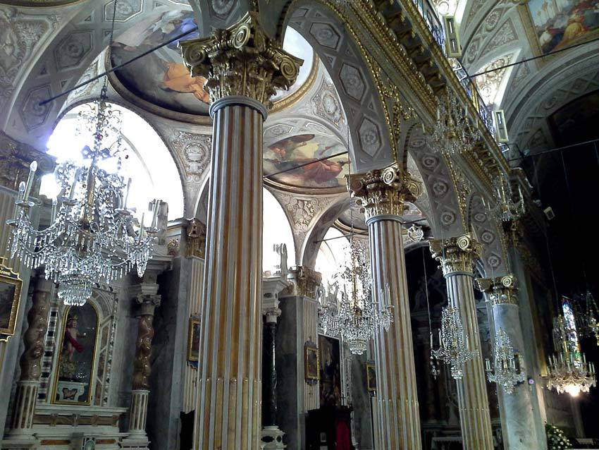 Interior of Church for catholic weddings on the Italian Riviera