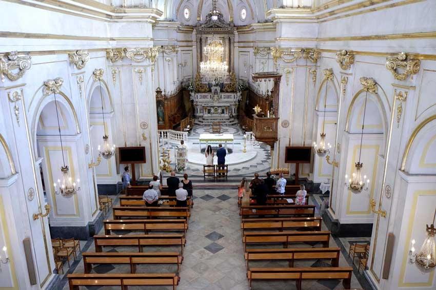 Interior of Positano church for catholic weddings