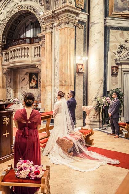 Catholic ceremony in the church of Sant'Anna Rome