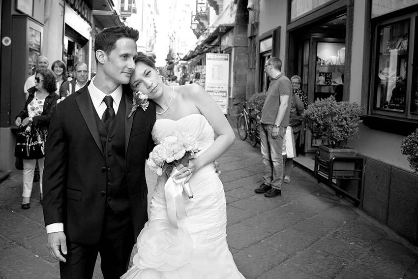 Bridal couple in Sorrento