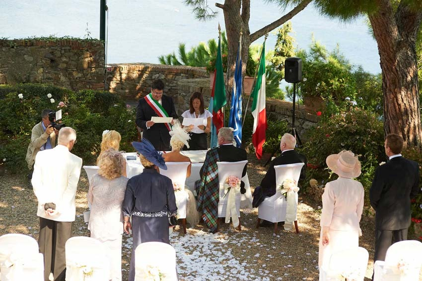 Outdoor civil wedding in Portofino on the Italian Riviera