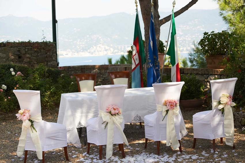 Outdoor civil ceremony in Portofino on the Italian Riviera
