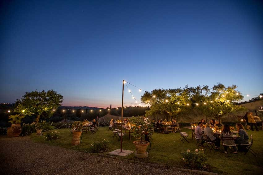 Outdoor dinner at Villa di Lilliano near Florence