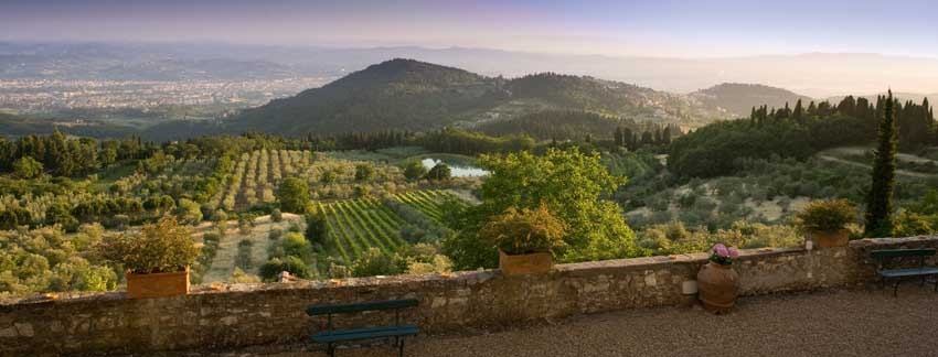 Panorama of Villa Montefiano for destination weddings in Florence