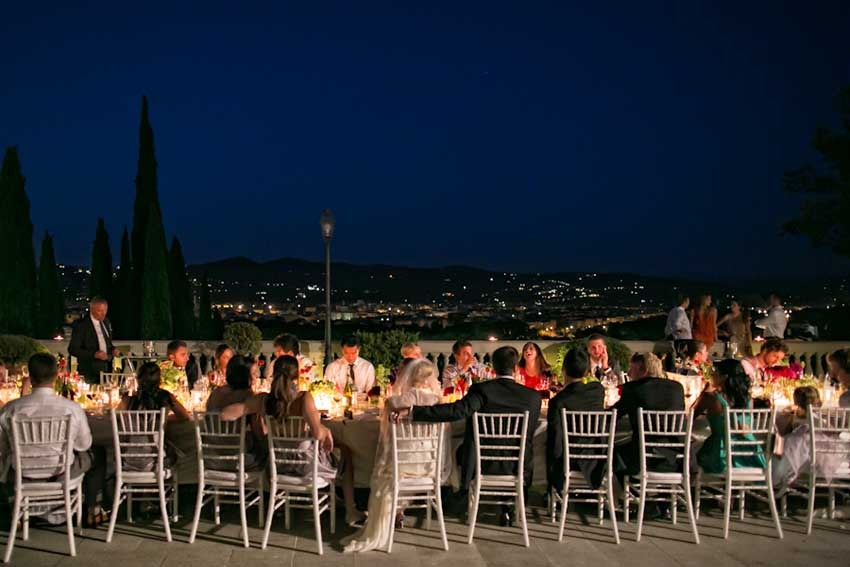 Outdoor wedding reception in a Florence villa
