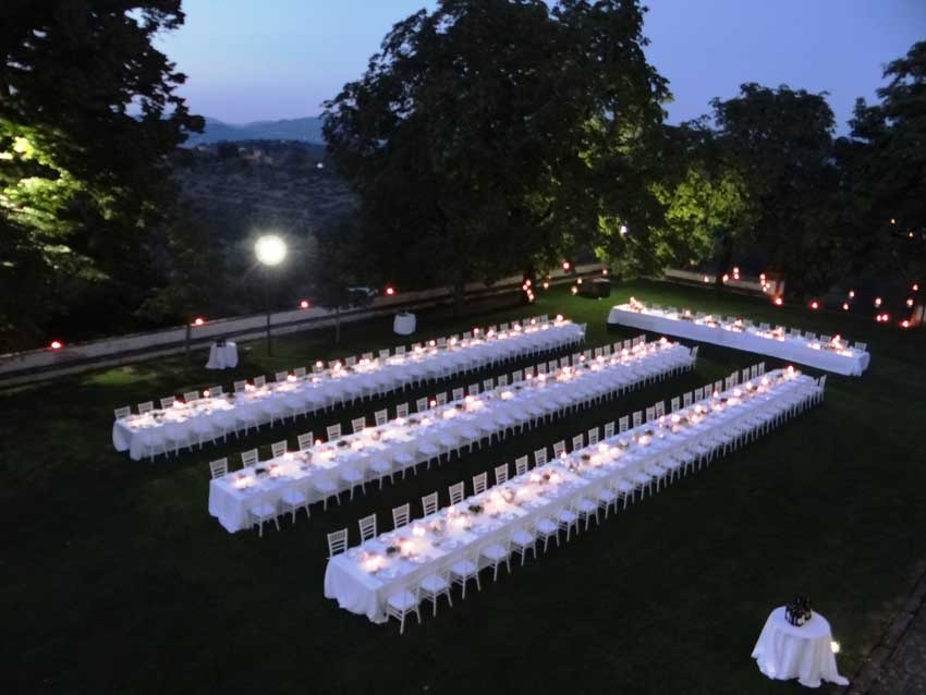 Outdoor wedding party at Villa Corsini near Florence
