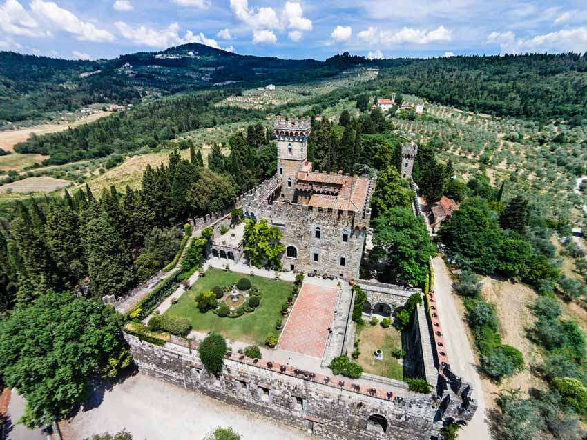 Aerial view of Vincigliata Castle in Tuscany