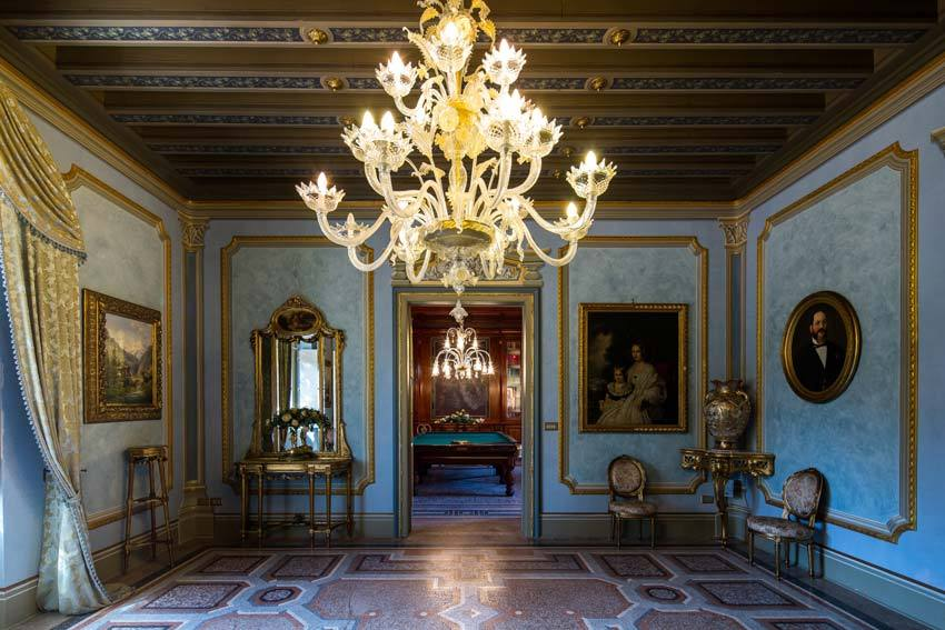 Elegant hall at Castello di Spessa in the Friuli region of Italy