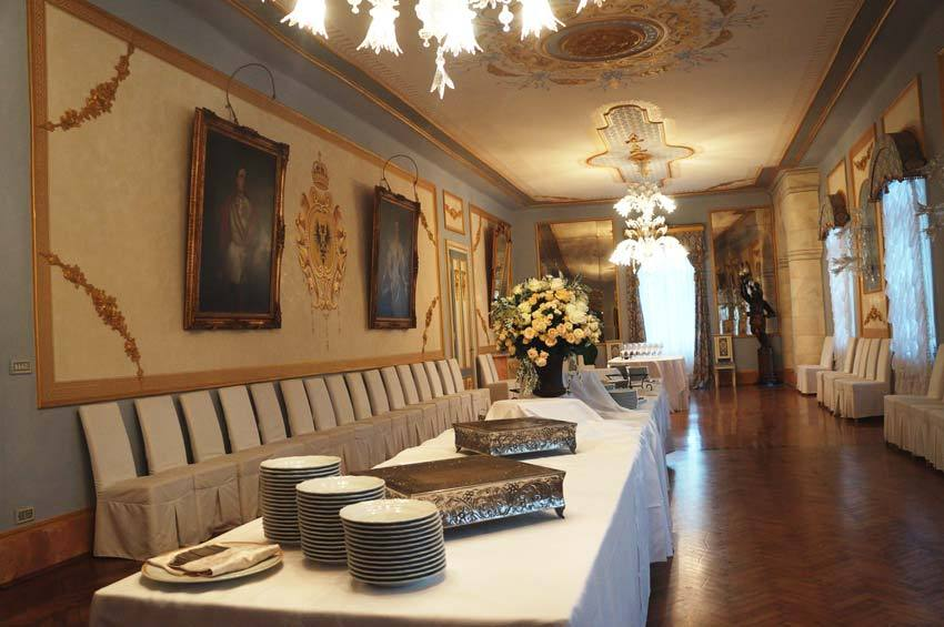 Buffet in the hall of Castello di Spessa in the Friuli region of Italy