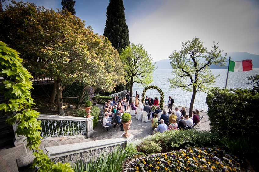 Outdoor civil ceremony in Varenna for Lake Como wedding