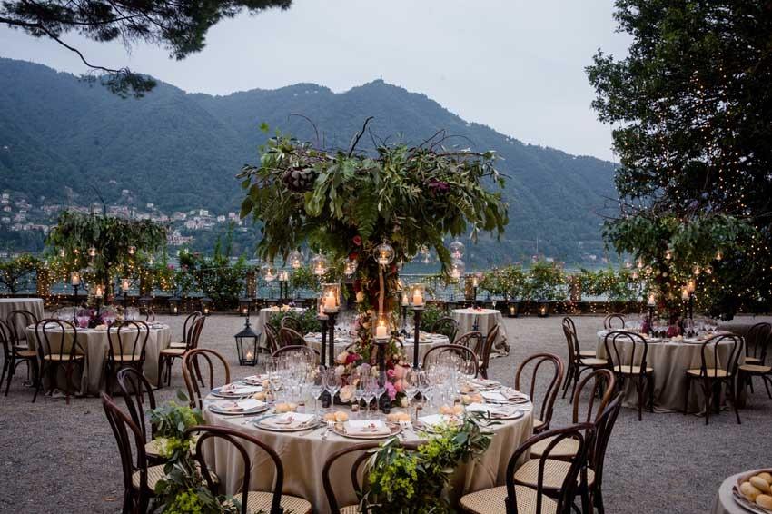 Outdoor wedding reception at Villa Pizzo on Lake Como