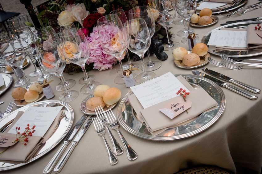 Decorations for wedding reception at Villa Pizzo on Lake Como