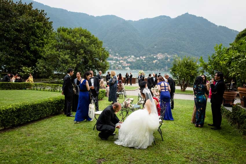 Wedding cocktail at Villa Pizzo on Lake Como