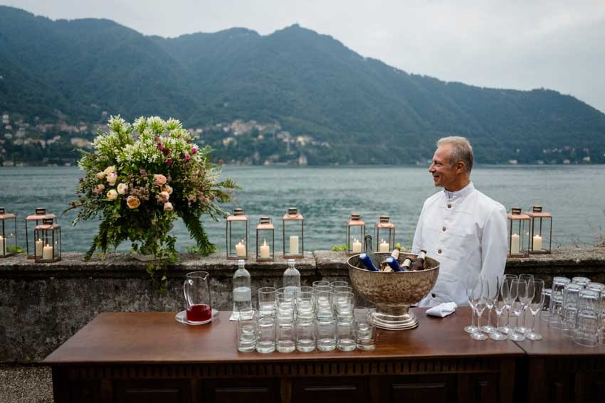 Wedding cocktail on Lake Como at Villa Pizzo