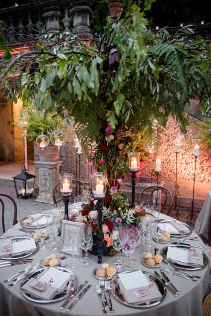 Outdoor wedding reception at Villa Pizzo on Lake Como