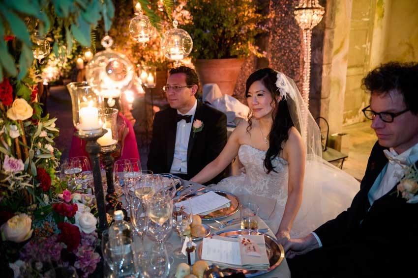 Wedding dinner on Lake Como in the gardens of Villa Pizzo