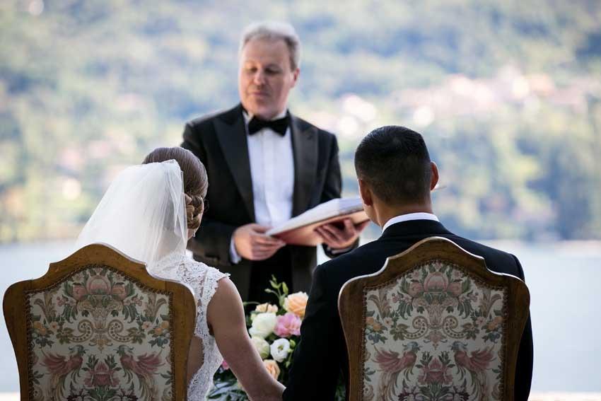 Outdoor civil ceremony at Villa Carlotta on Lake Como