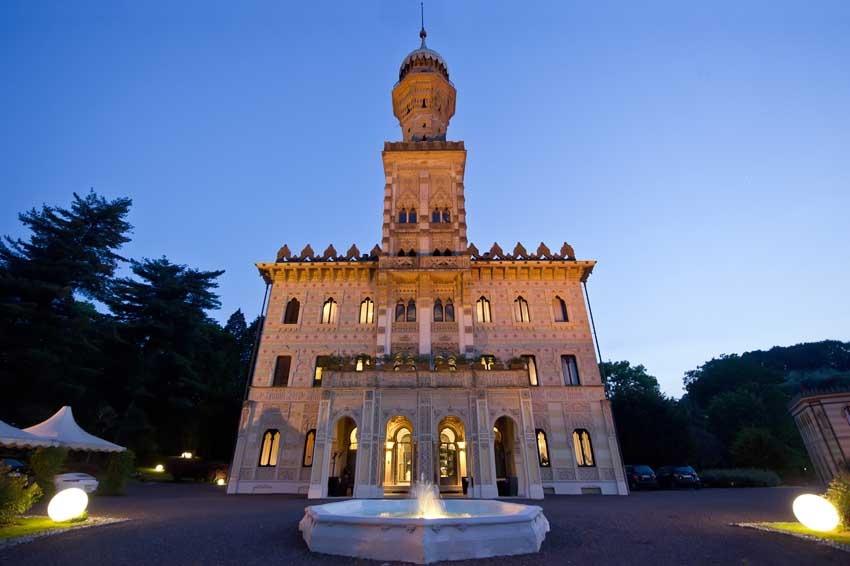 Facade of Villa Crespi for Lake Orta weddings