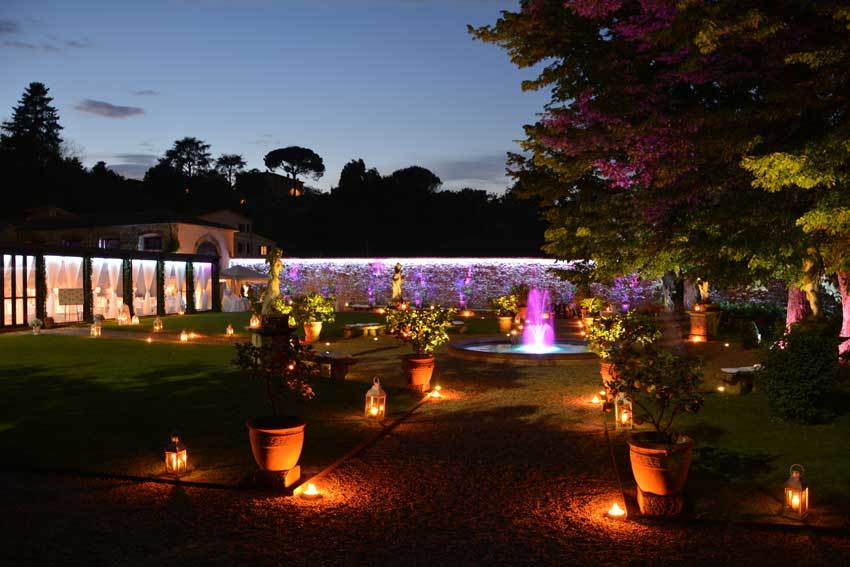 Garden lighting for wedding reception at Villa Bernardini