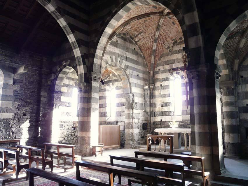 Interior of Portovenere church for catholic weddings