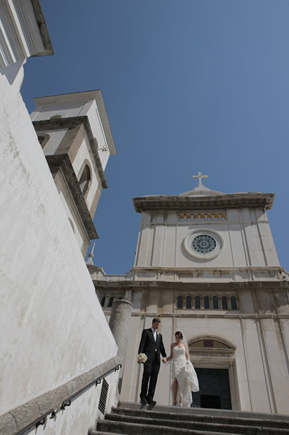Facade of Positano church for catholic weddings