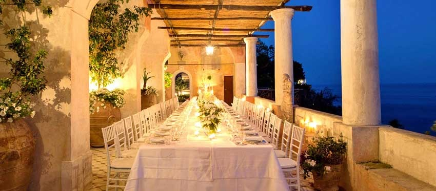 Positano luxury villa for wedding receptions on terrace with seaview