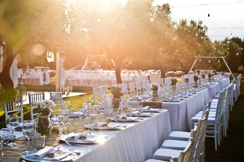 Outdoor wedding reception at Masseria Don Luigi in Puglia