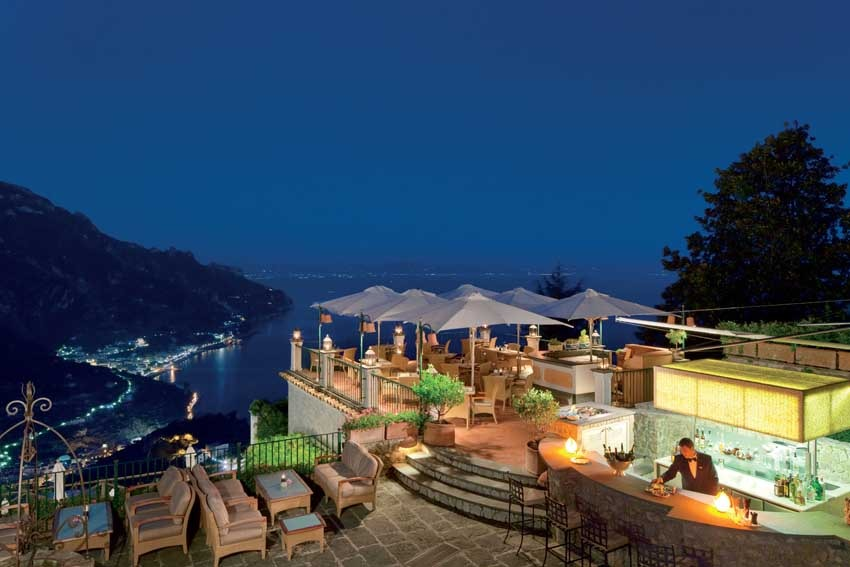 Terrace bar with seaview of Palazzo Avino in Ravello
