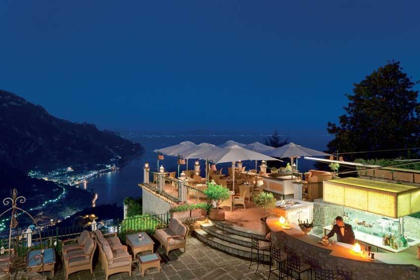 Terrace bar with seaview of Palazzo Avino in Ravello