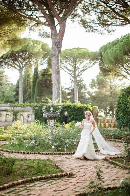 Bride in Ravello gardens