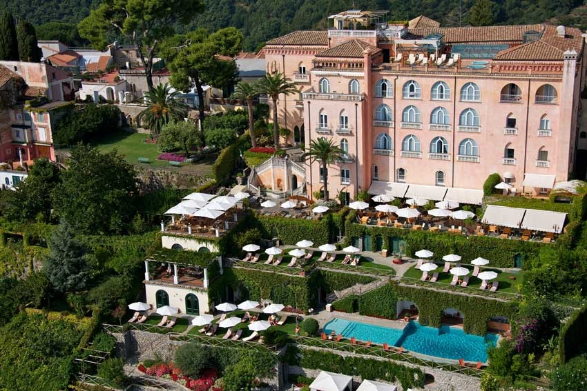Aerial view of Palazzo Avino, wedding venue in Ravello