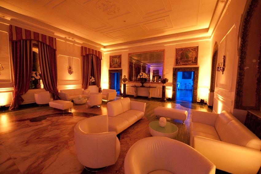Hall of Villa Miani for destination weddings in Rome