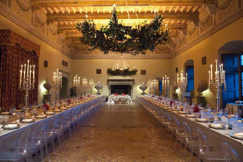 Wedding reception at Outdoor wedding reception at Castello Odescalchi near Rome