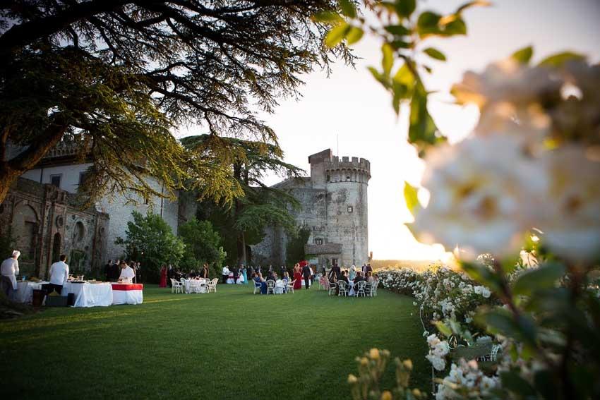 Outdoor wedding reception at Castello Odescalchi for destination weddings near Rome