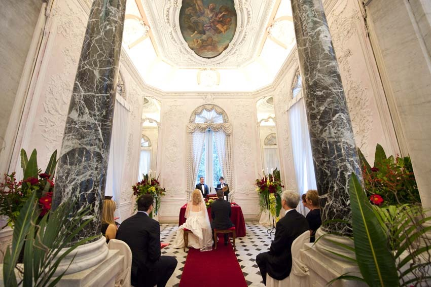 Symbolic wedding in luxury palace in Rome