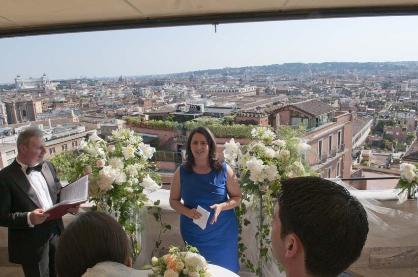 Symbolic ceremony on a panoramic terrace in Rome