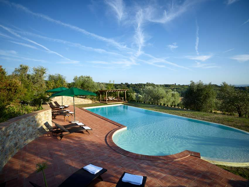 Pool of Borgo Petrognano for destination weddings in Tuscany