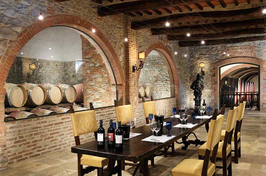 Wine cellar of Borgo San Felice for Tuscany weddings