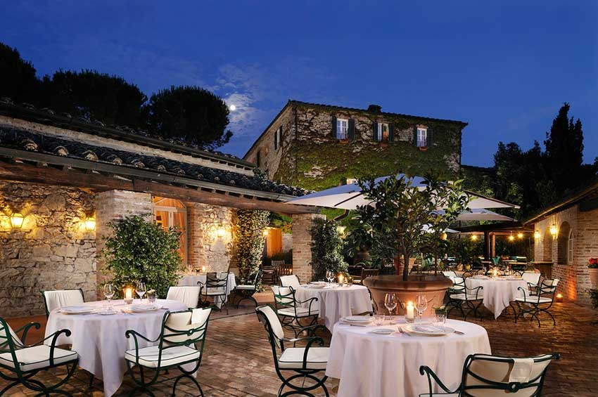 Outdoor wedding reception at Borgo San Felice near Siena