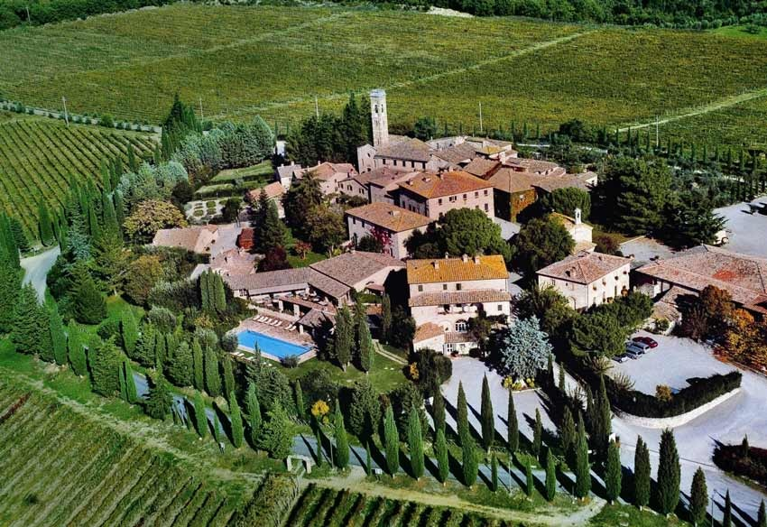 Aerial view of Borgo San Felice in Tuscany