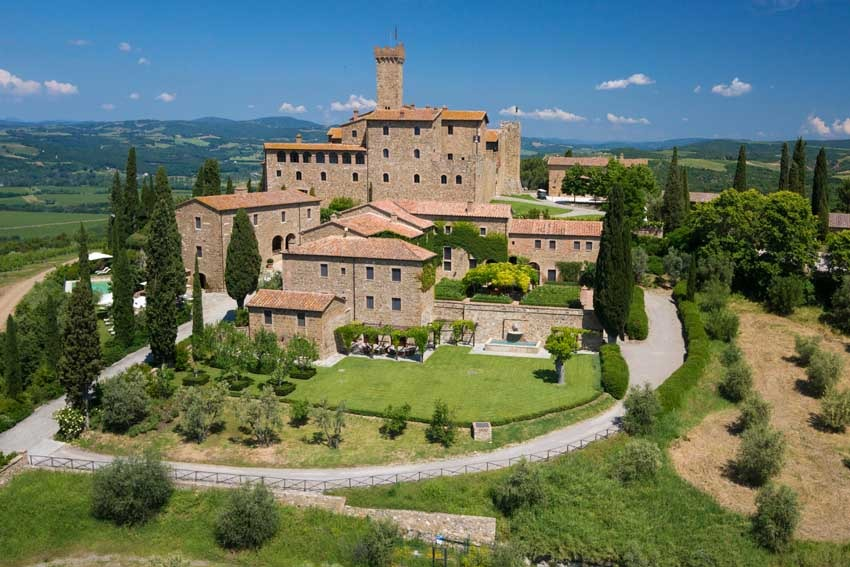 Aerial view of Castello Banfi for castle weddings in Tuscany