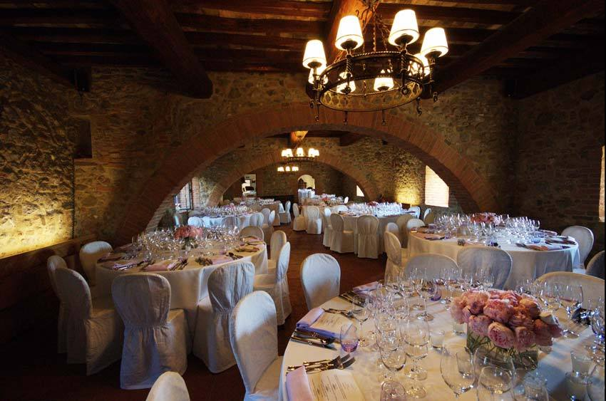 Wedding reception in the cellar of Castello Banfi in Tuscany
