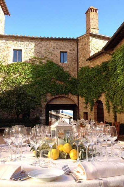 Outdoor reception at Castello Banfi for castle weddings in Tuscany