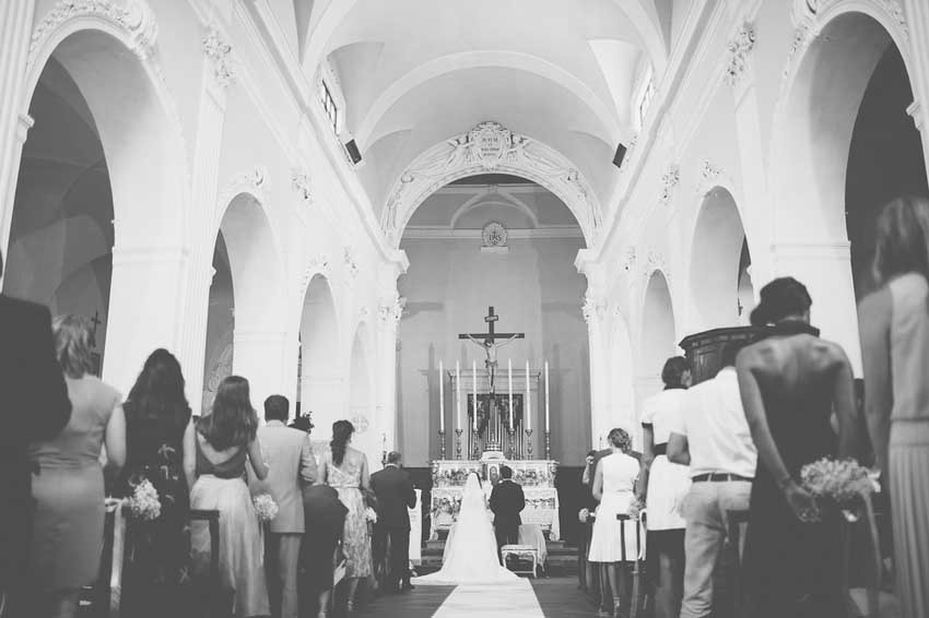 Interior of catholic church for weddings in Tuscany
