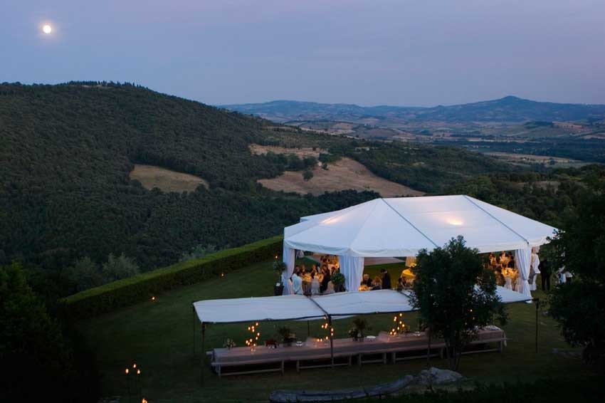 Wedding reception at Castello di Vicarello in Tuscany